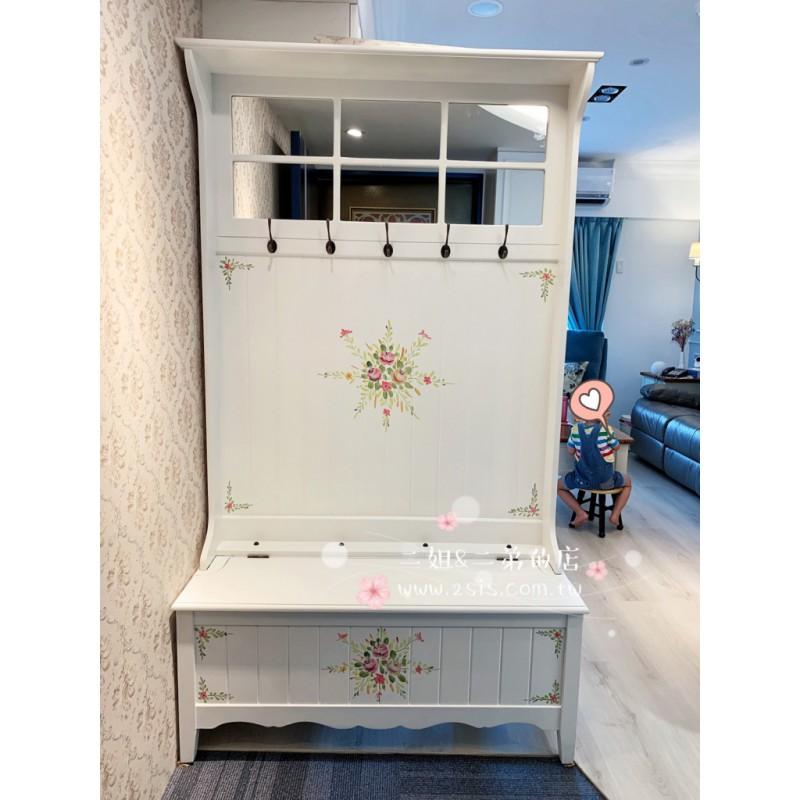 彩繪玄關隔間櫃,衣帽架,穿鞋椅-(白色)