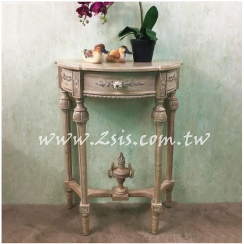 法式雕花半圓玄關桌-小