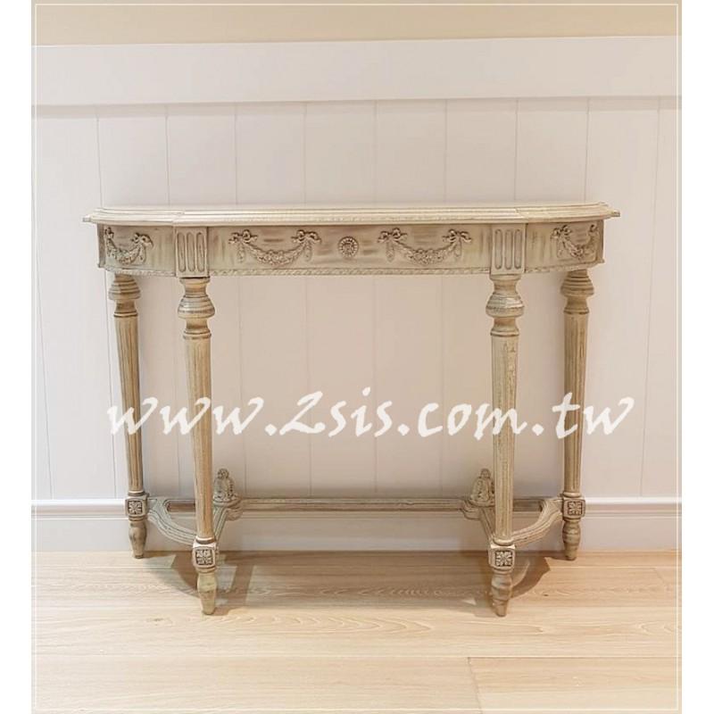 法式雕花半圓玄關桌