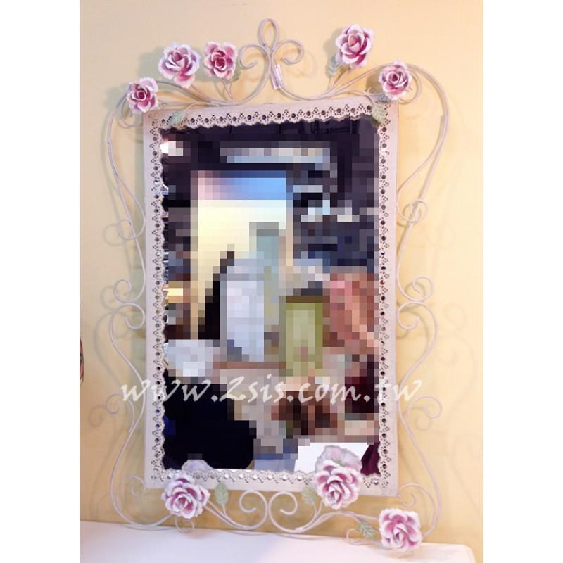 鍛鐵立體玫瑰長方鏡/化妝鏡