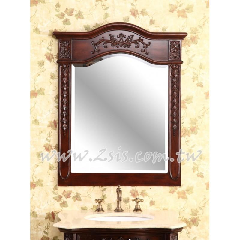 仿古雕花實木浴室鏡/化妝鏡(木色)