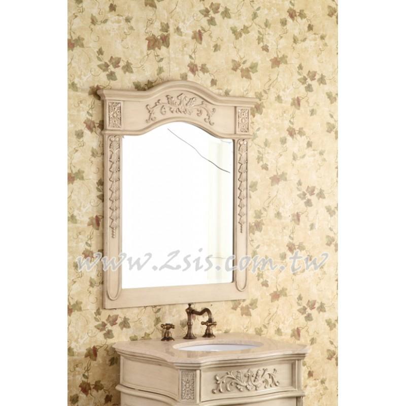 仿古雕花實木浴室鏡/化妝鏡