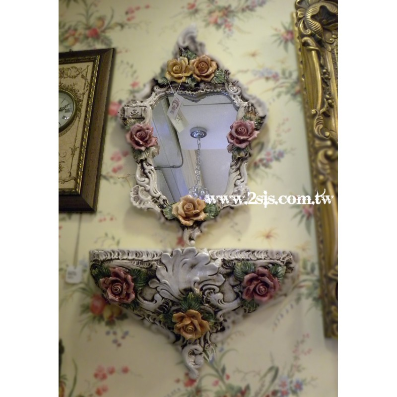 義大利骨瓷玫瑰玄關鏡(小)