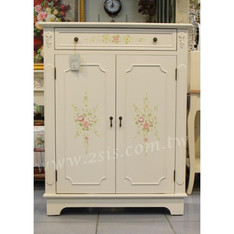 彩繪雙門鞋櫃-白色