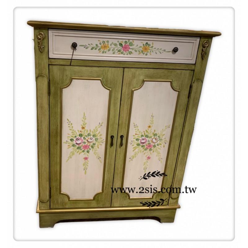 美式鄉村彩繪鞋櫃-復古綠