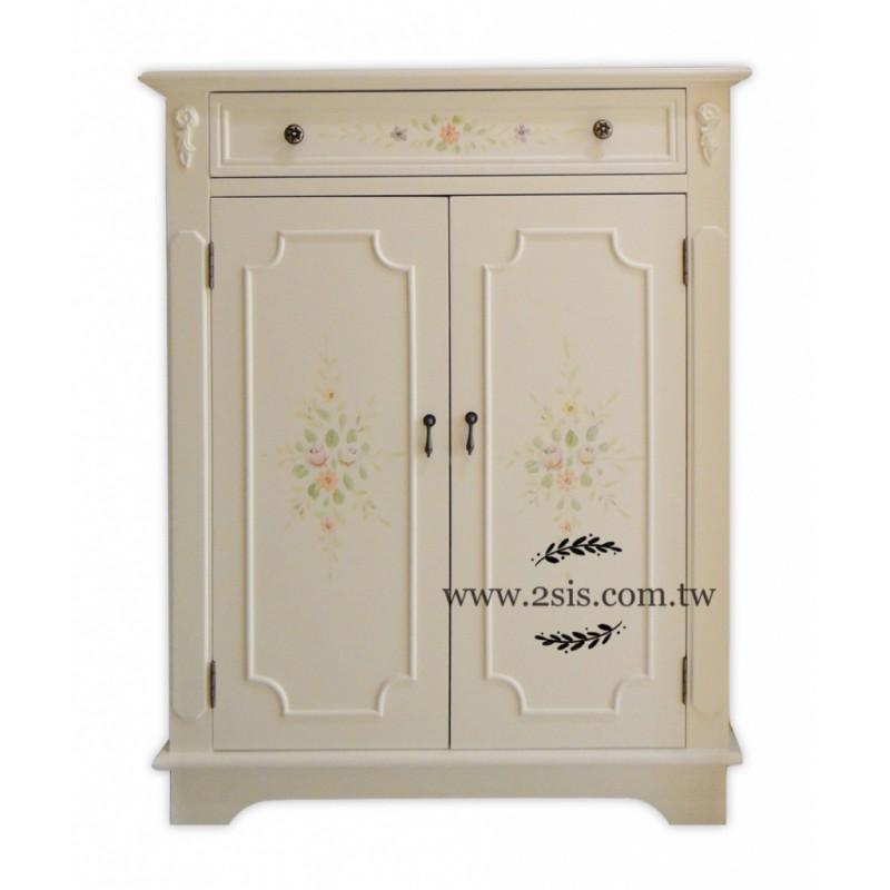 美式鄉村彩繪鞋櫃-白色