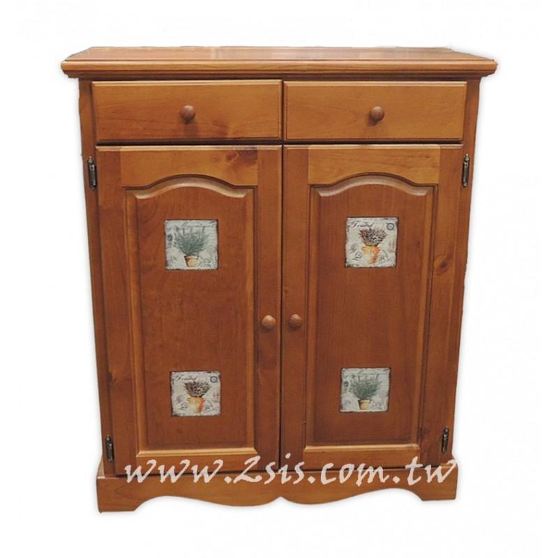 凱薩磁磚原木雙門鞋櫃