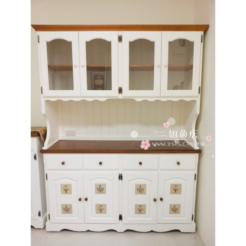 鄉村實木磁磚收納備餐櫃