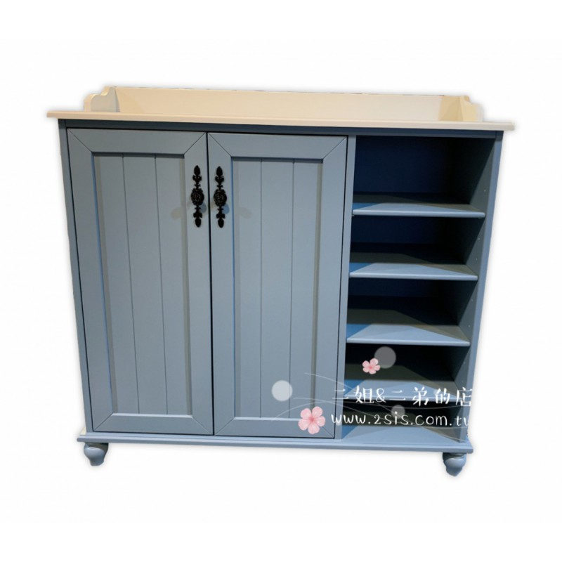 田園鄉村實木雙色鞋櫃-灰藍色