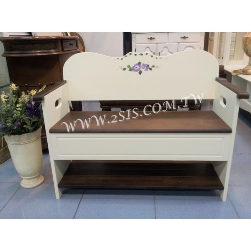 雙色實木彩繪情人椅