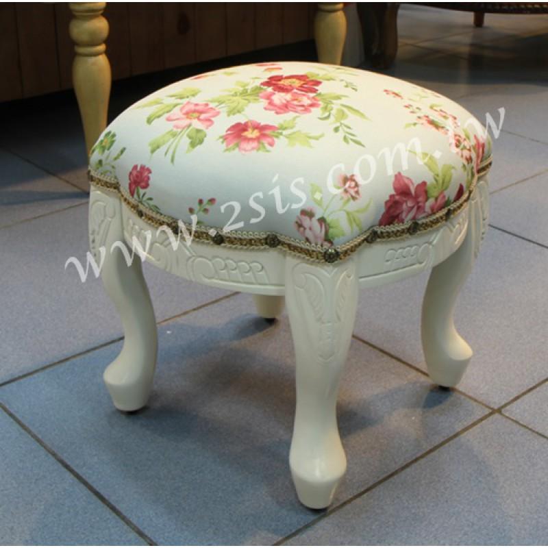 彫刻虎凳-方,原木/洗白