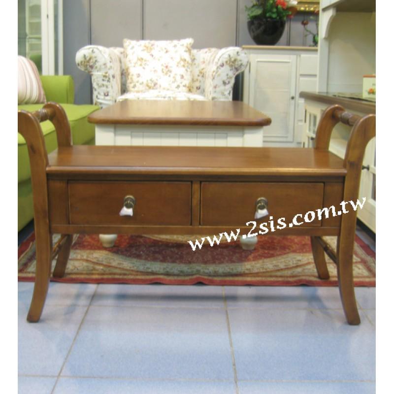 英式橡木雙人椅