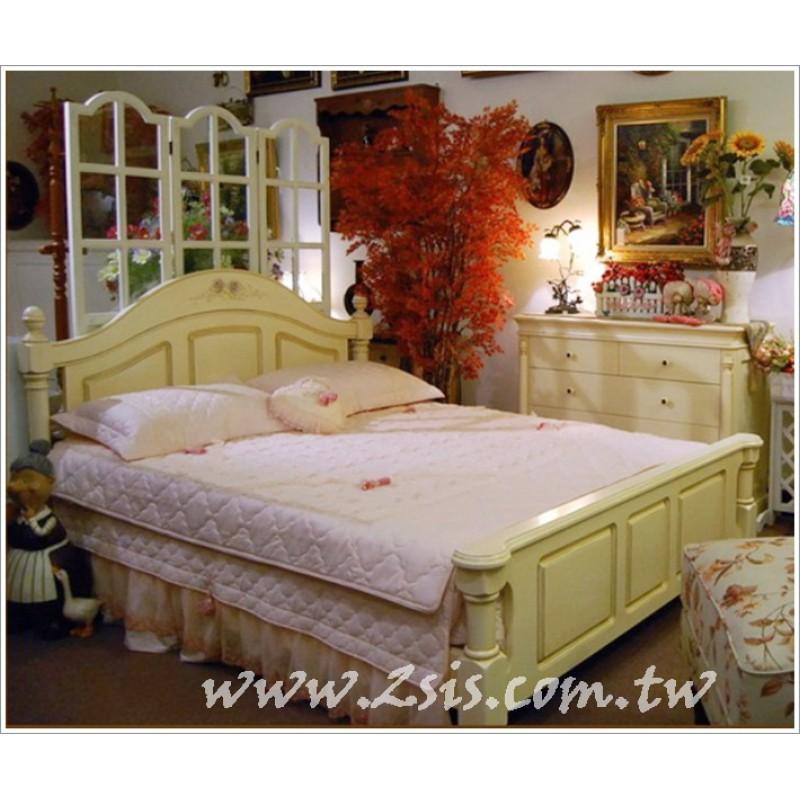 維納斯彩繪實木雙人床(仿古色)