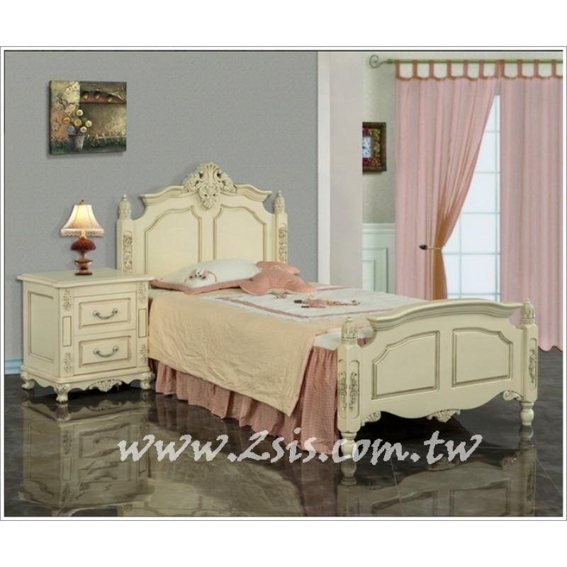 歐式皇家貴族雕花實木單人床(另有白色款)