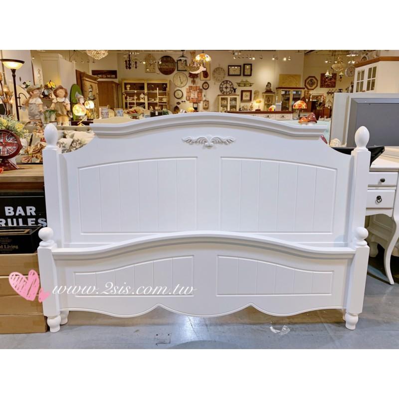 瑪莎鄉村雕花白色雙人床