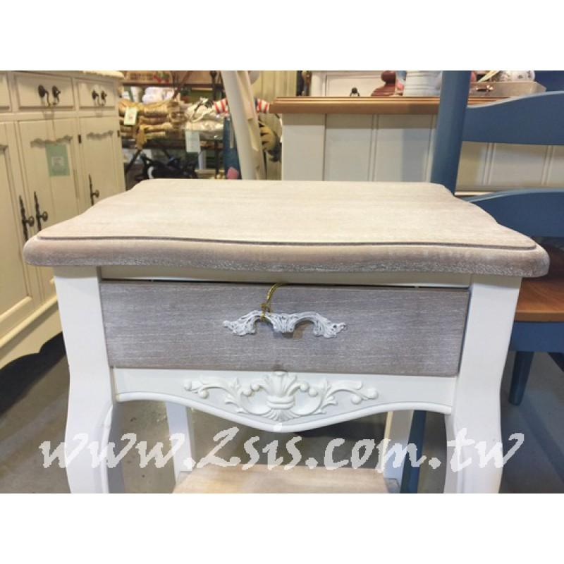 復古刷舊單抽床頭櫃/電話桌