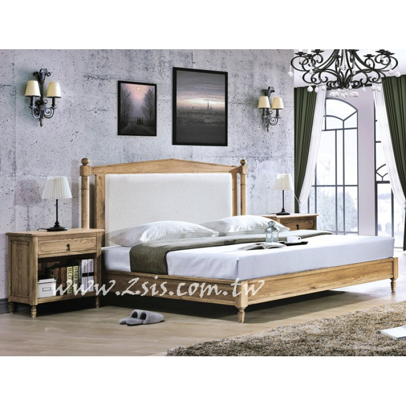 南法鄉村橡木五尺雙人床