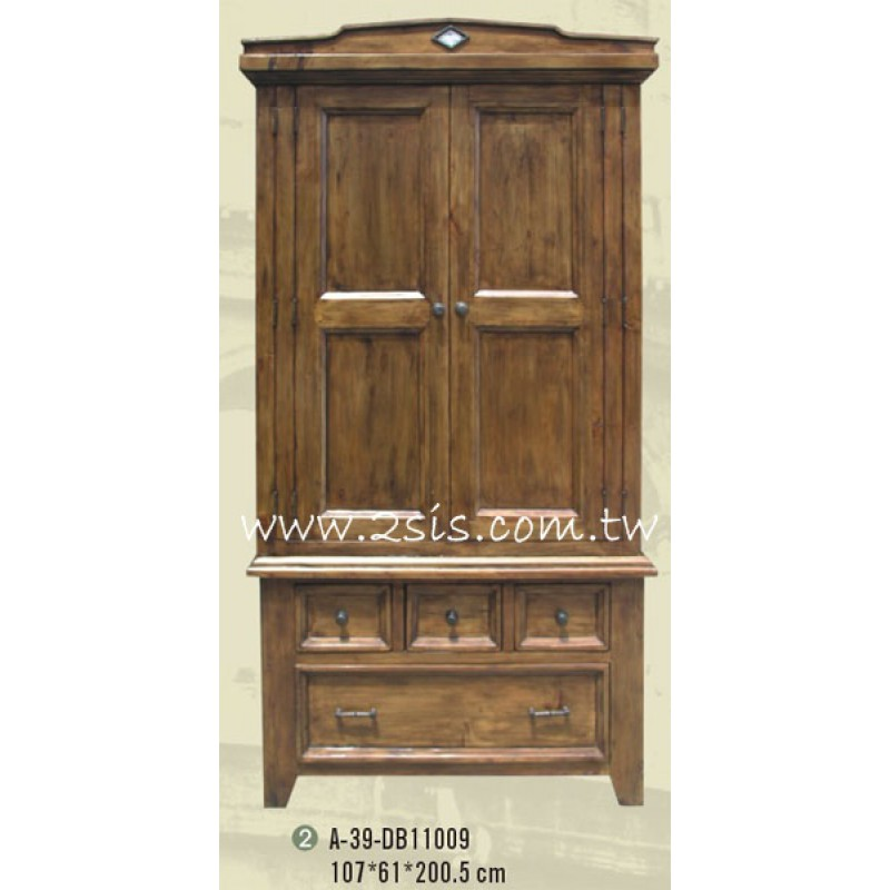 手工原木雙門衣櫃