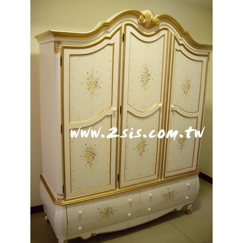 洗白手繪金邊三門衣櫥