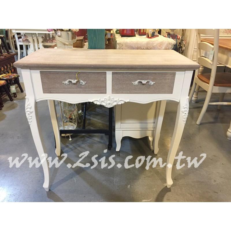復古刷舊兩抽玄關櫃/書桌