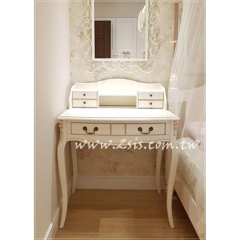英式鄉村雕花洗白書桌/化妝台/梳妝台