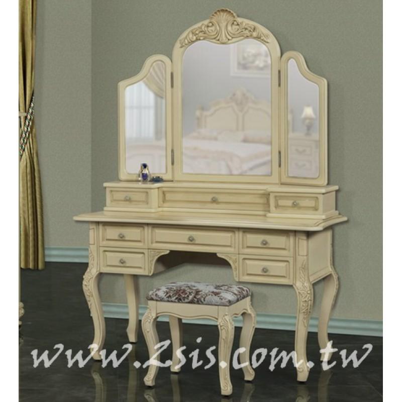 皇家貴族三面鏡化妝檯(桌+鏡)