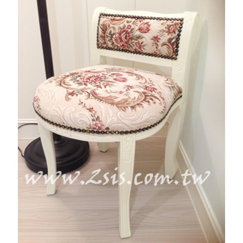 刻花化妝椅,原木/洗白