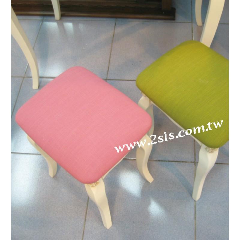 英式洗白布面化妝椅