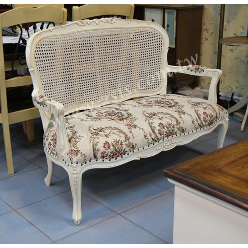 法式藤編刻花洗白雙人椅