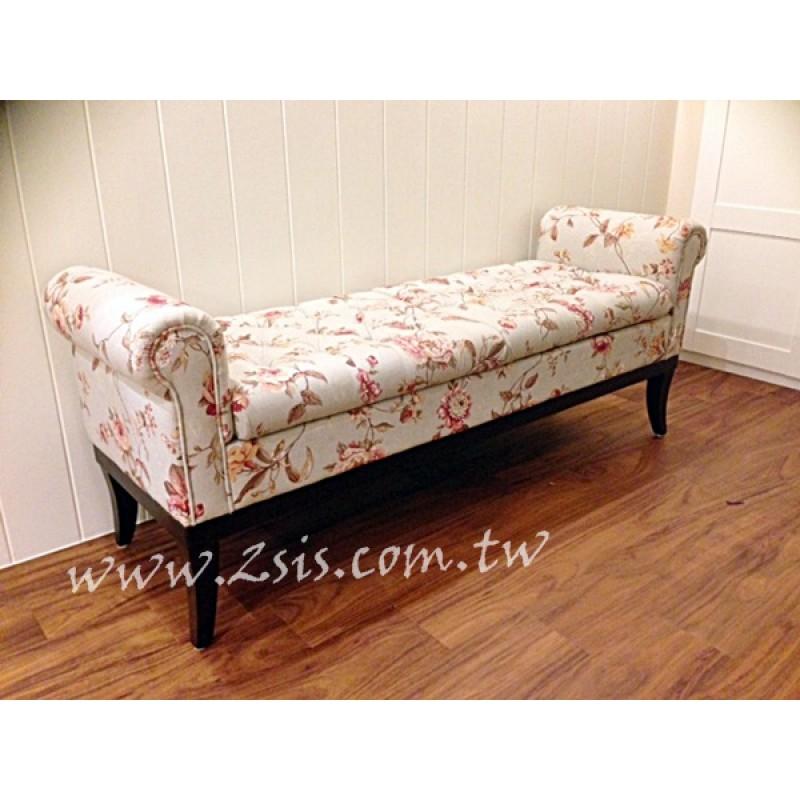 美式鄉村復古可置物床尾椅