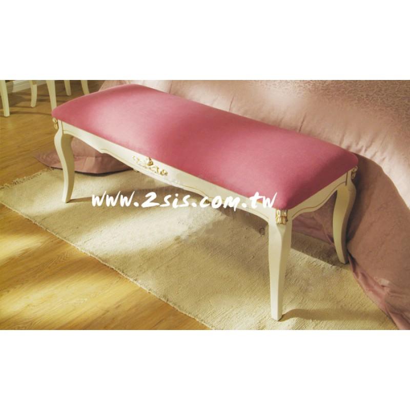 英式洗白床尾椅