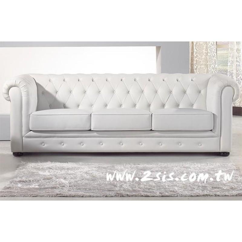 新古典愛紗純白三人沙發