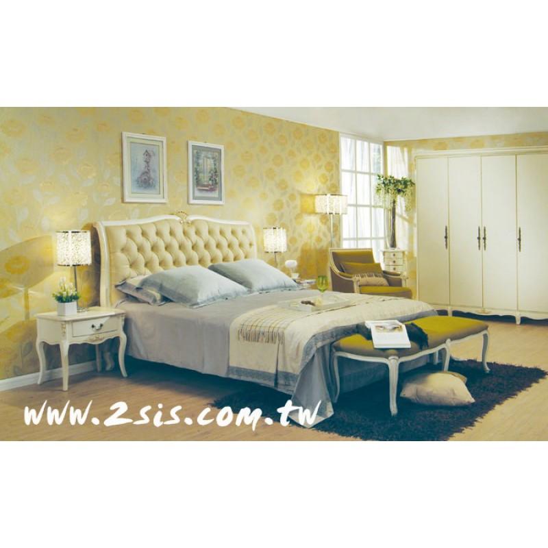 英式洗白皮革雙人床
