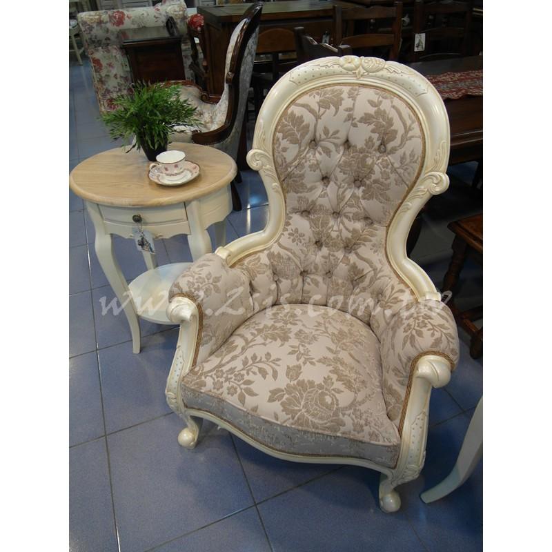 古典刻花低扶手主人椅(白)