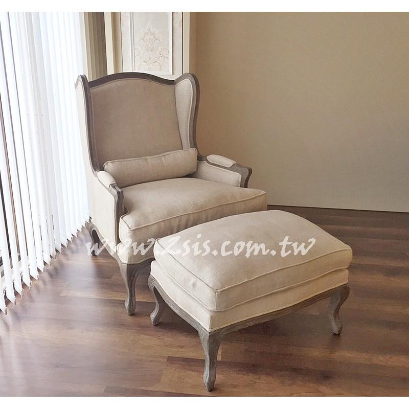 法式鄉村主人椅/腳凳