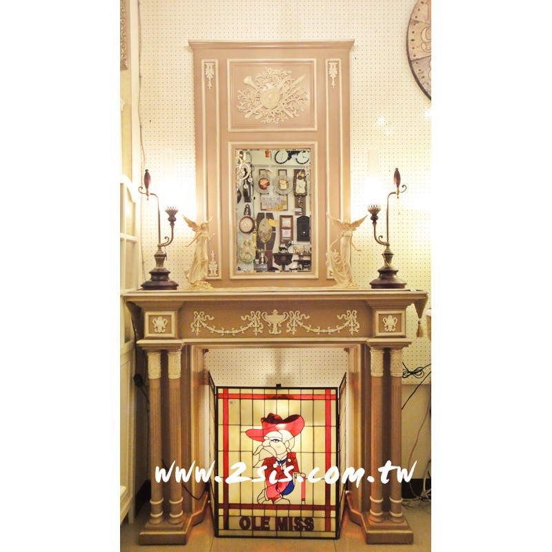 法式刻花壁爐+鏡