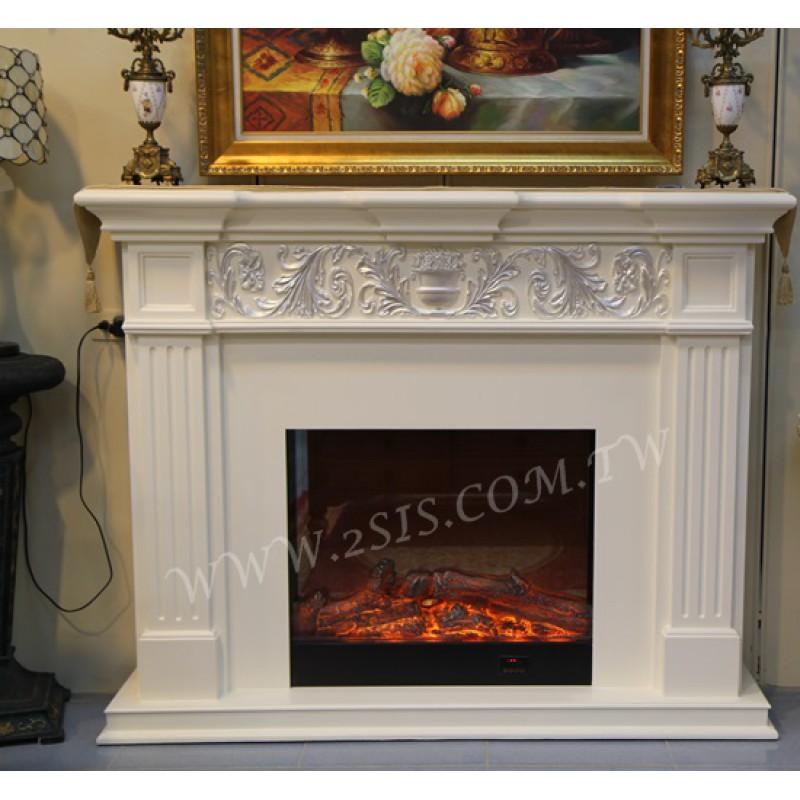 歐式古典洗白壁爐