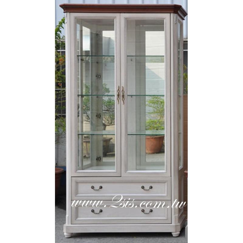 卡尼實木雙色玻璃展示櫃