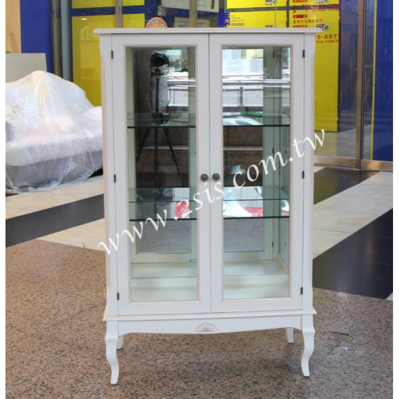 洗白雙門玻璃展示櫃