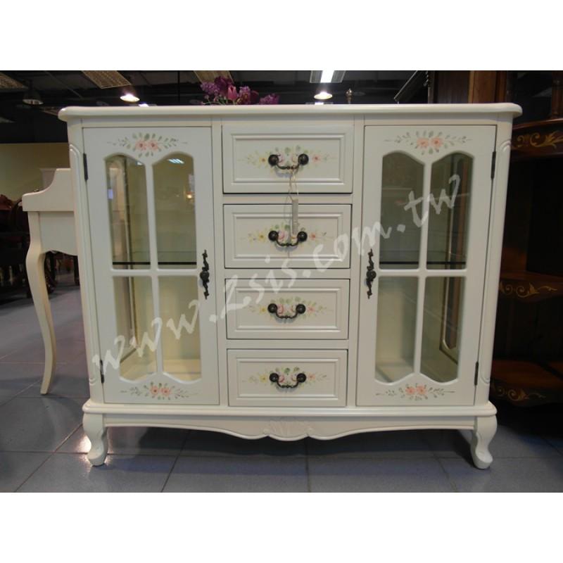 洗白彩繪玻璃櫃