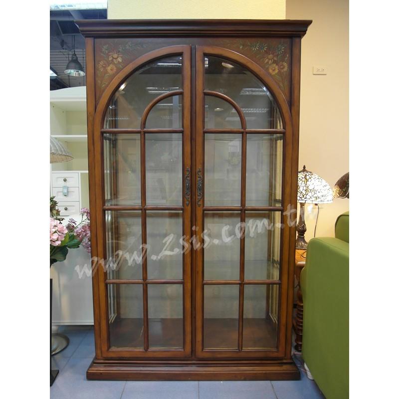 歐式古典雙門玻璃櫃