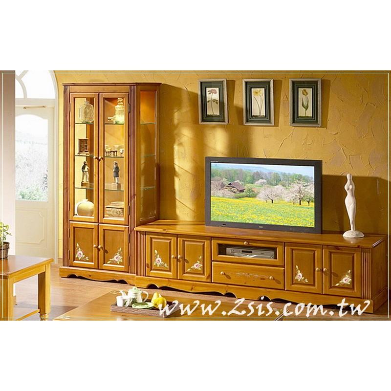 鄉村彩繪實木電視櫃