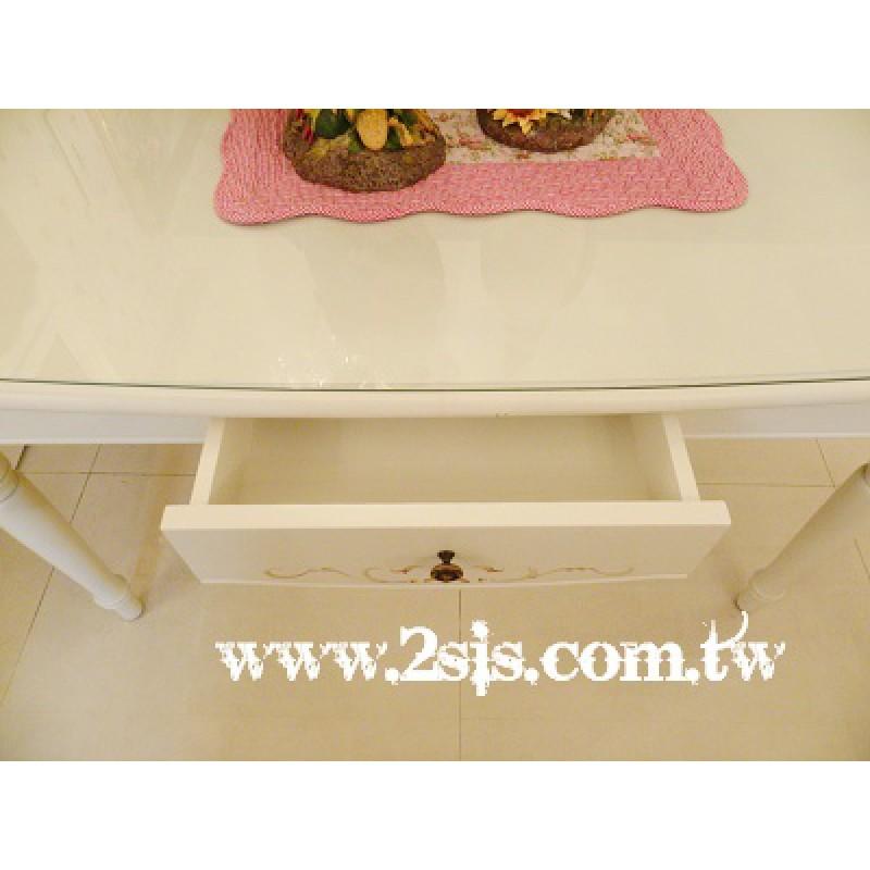 普羅旺斯洗白手繪船型餐桌