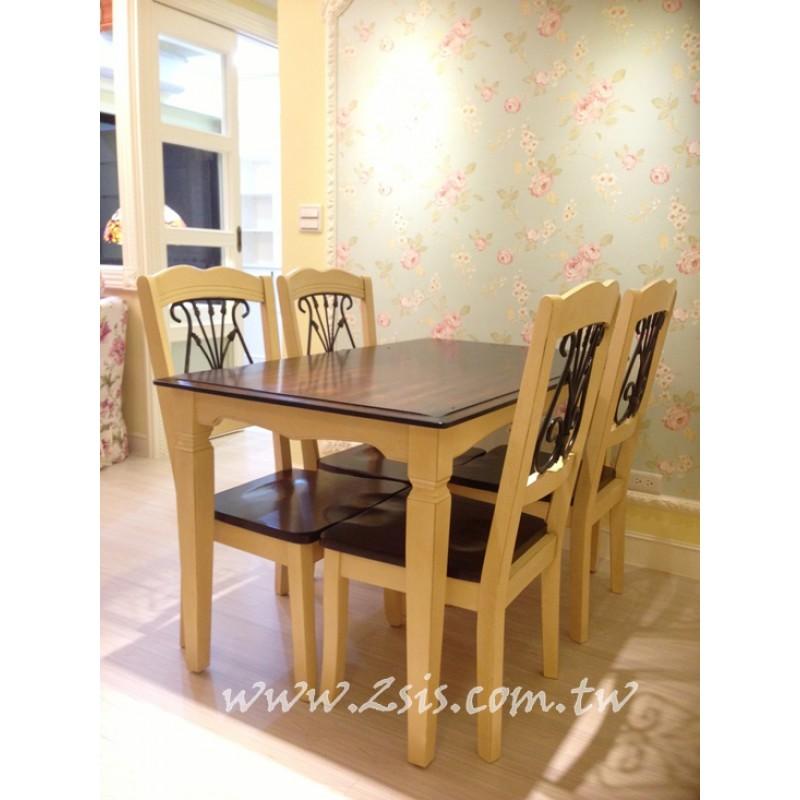 美式雙色實木餐桌