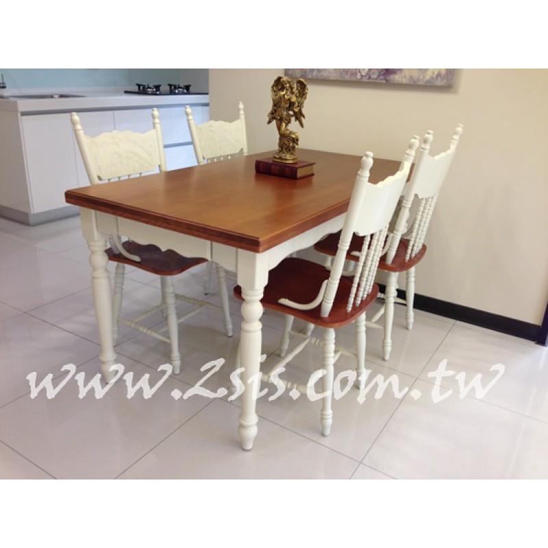 美式雙色餐桌椅組(一桌四椅)-厚板