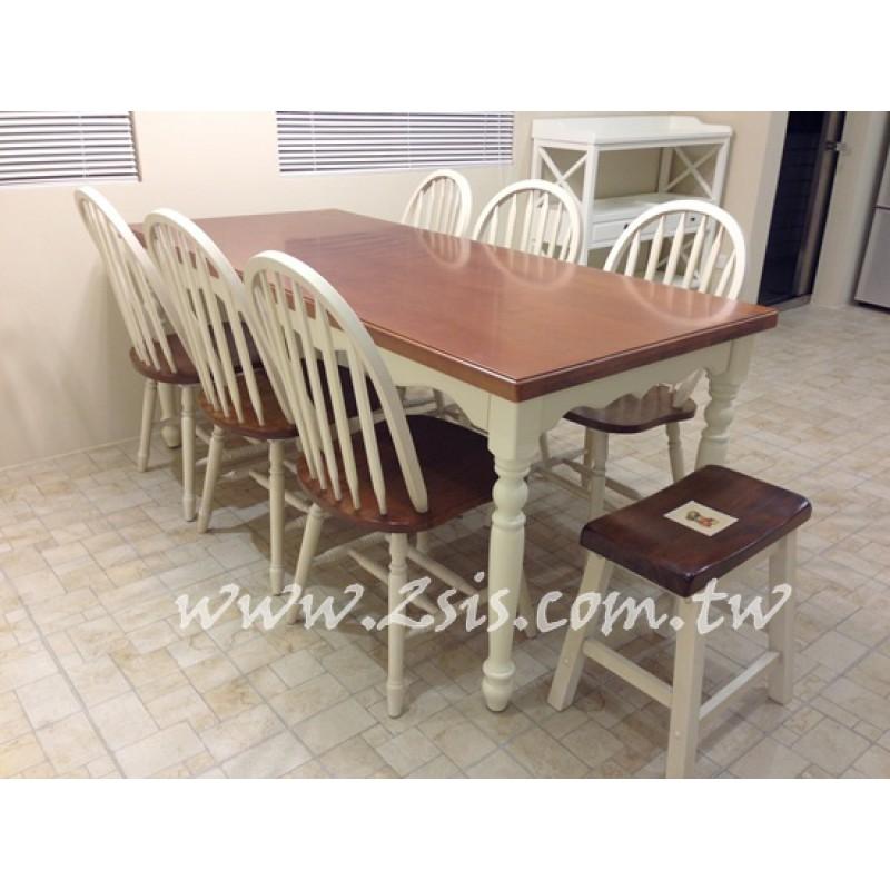 美式雙色厚板餐桌-180CM