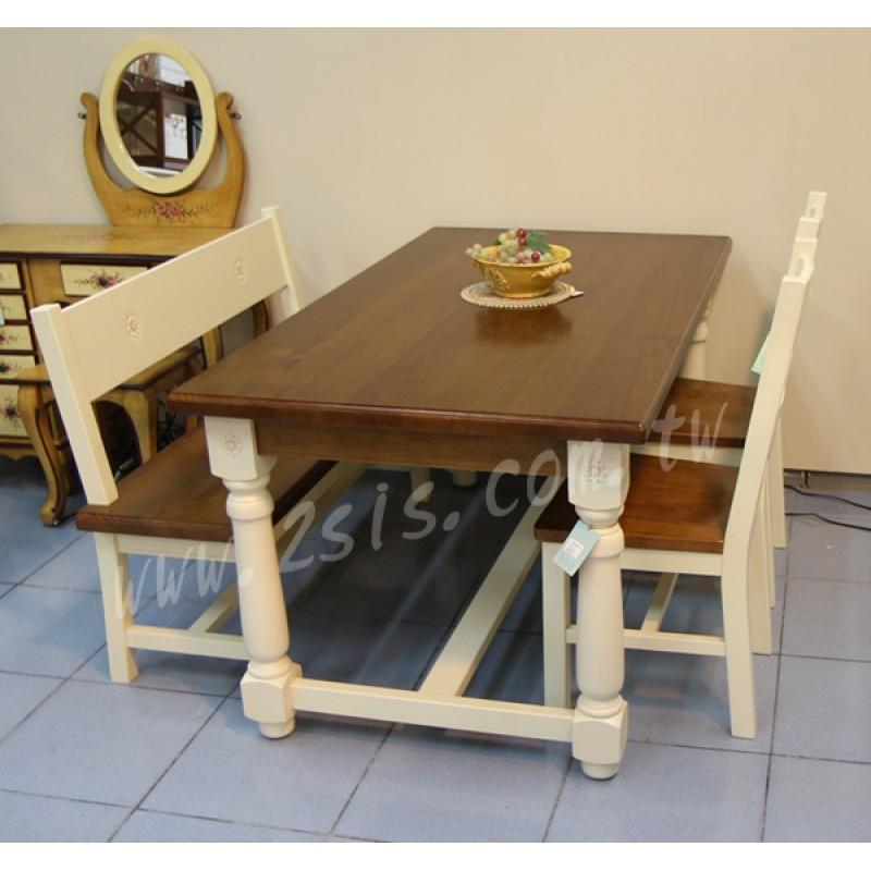 古典鄉村風萊茵立體雕花實木雙色大餐桌