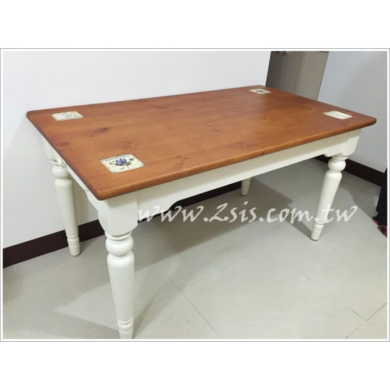 凱薩磁磚雙色全實木餐桌(有抽屜)
