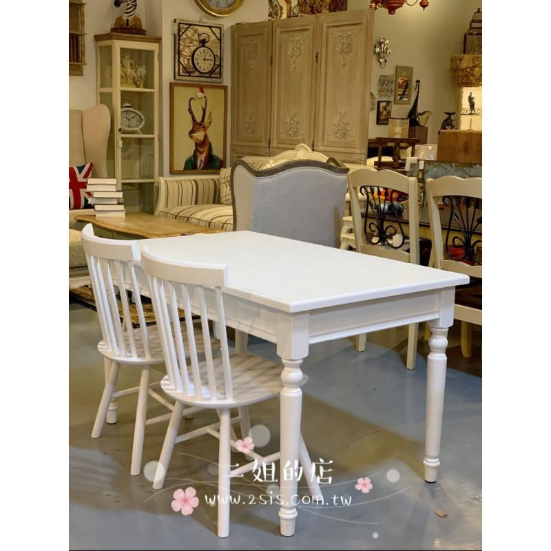 (一桌三椅)美式鄉村餐桌餐椅-白色