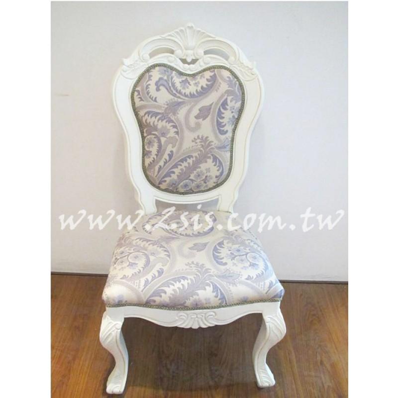 古典刻花無扶手餐椅-紫花